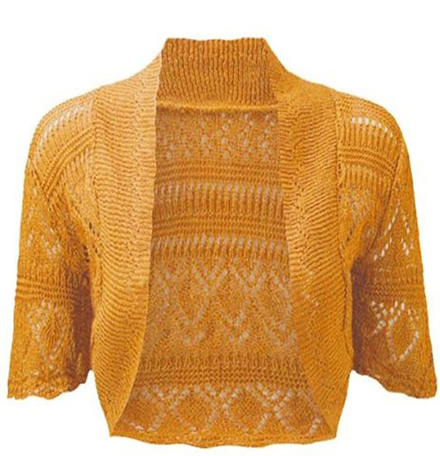 Womens Knitted Bolero Shrug Short Sleeve Crochet Shrug (M, Mustard ...