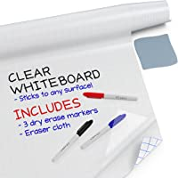 """Kassa Clear Dry Erase Board Sticker - 17.3"""" x 96"""" (8 Feet) - 3 Dry-Erase Markers Included - Transparent Adhesive White…"""