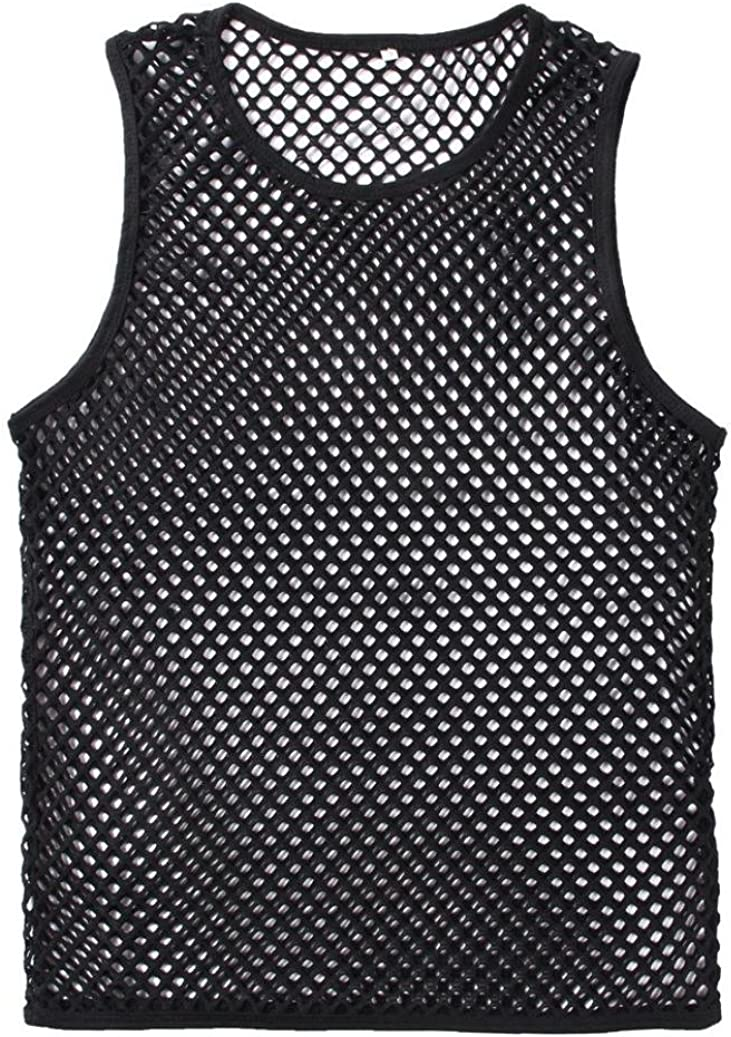 Usstore T-Shirts for Mens Summer Mesh Pullover Tank Vest Tees Top Short Sleeve Blouse
