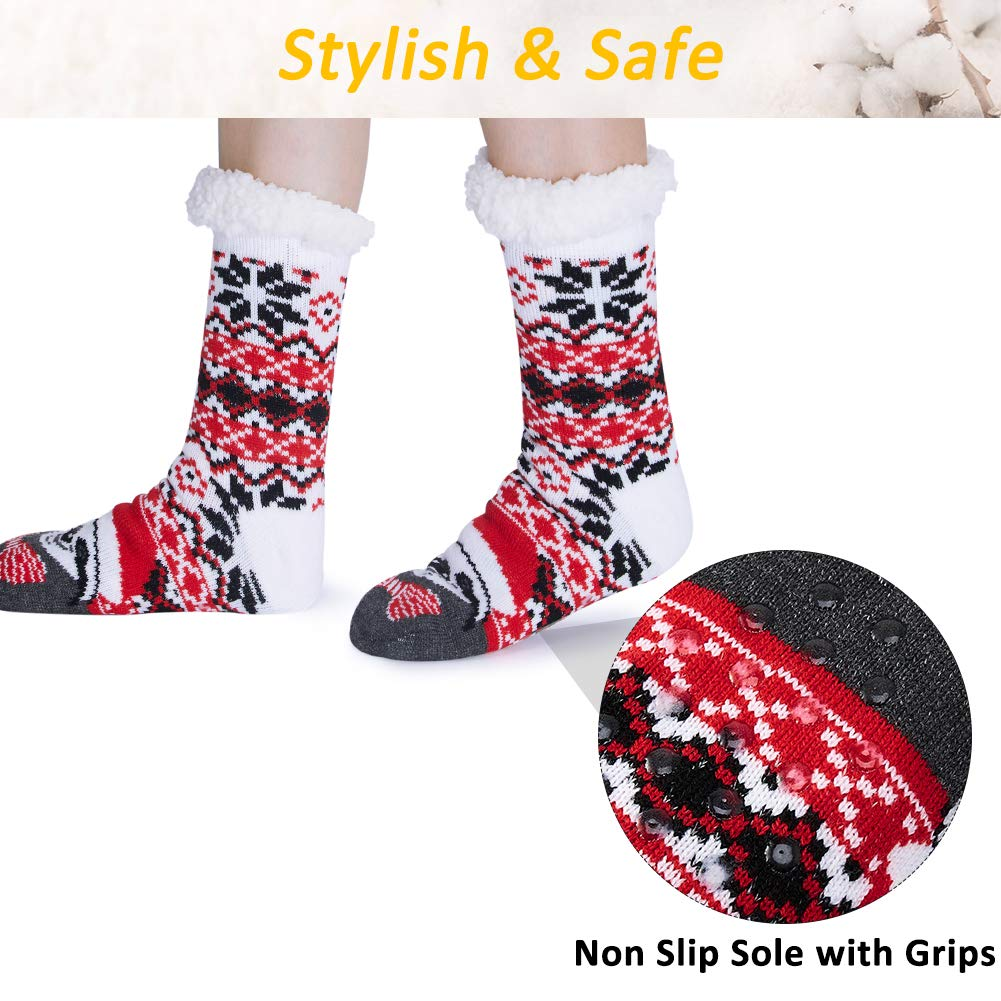 RAISEVERN Christmas Fuzzy Slipper Socks Soft Cozy Comfy Fluffy Lounge Socks With Grippers Pixilated Snowflakes Fat Sloth Childrens Warmth Hosiery Casual