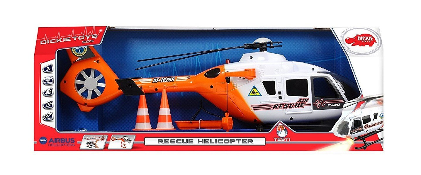Dickie Toys Light and Sound SOS Rescue Helicopter with Moving Rotor Blades, 25''