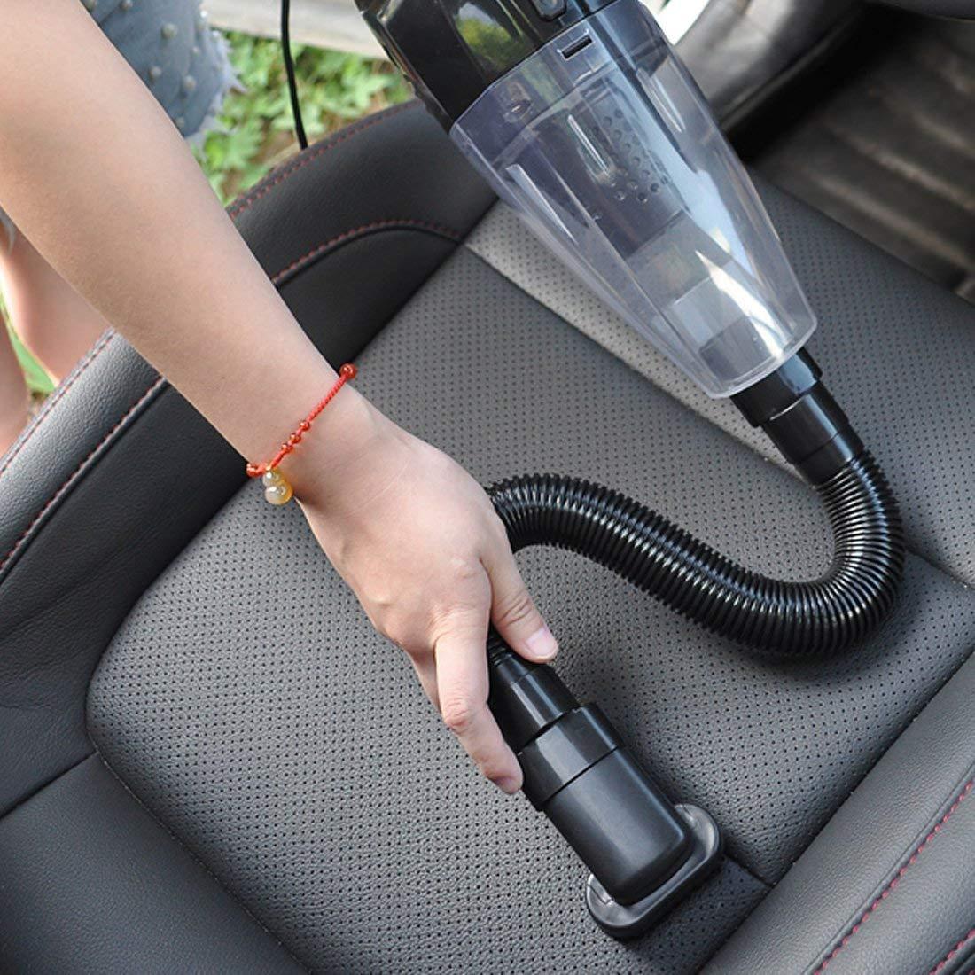 Clkjcar Aspirapolvere per auto, con filtro HEPA, con aspirazione forte da 4000 PA, per pulire facilmente peli di animali domestici dall' auto, portatile, manuale, con applicazione a umido e a secco, con cavo di alimentazione da 5 m, nera