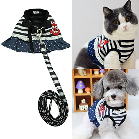 Bro bear mascota Sailor vestido juego de arnés y correa para gatos y perros pequeños