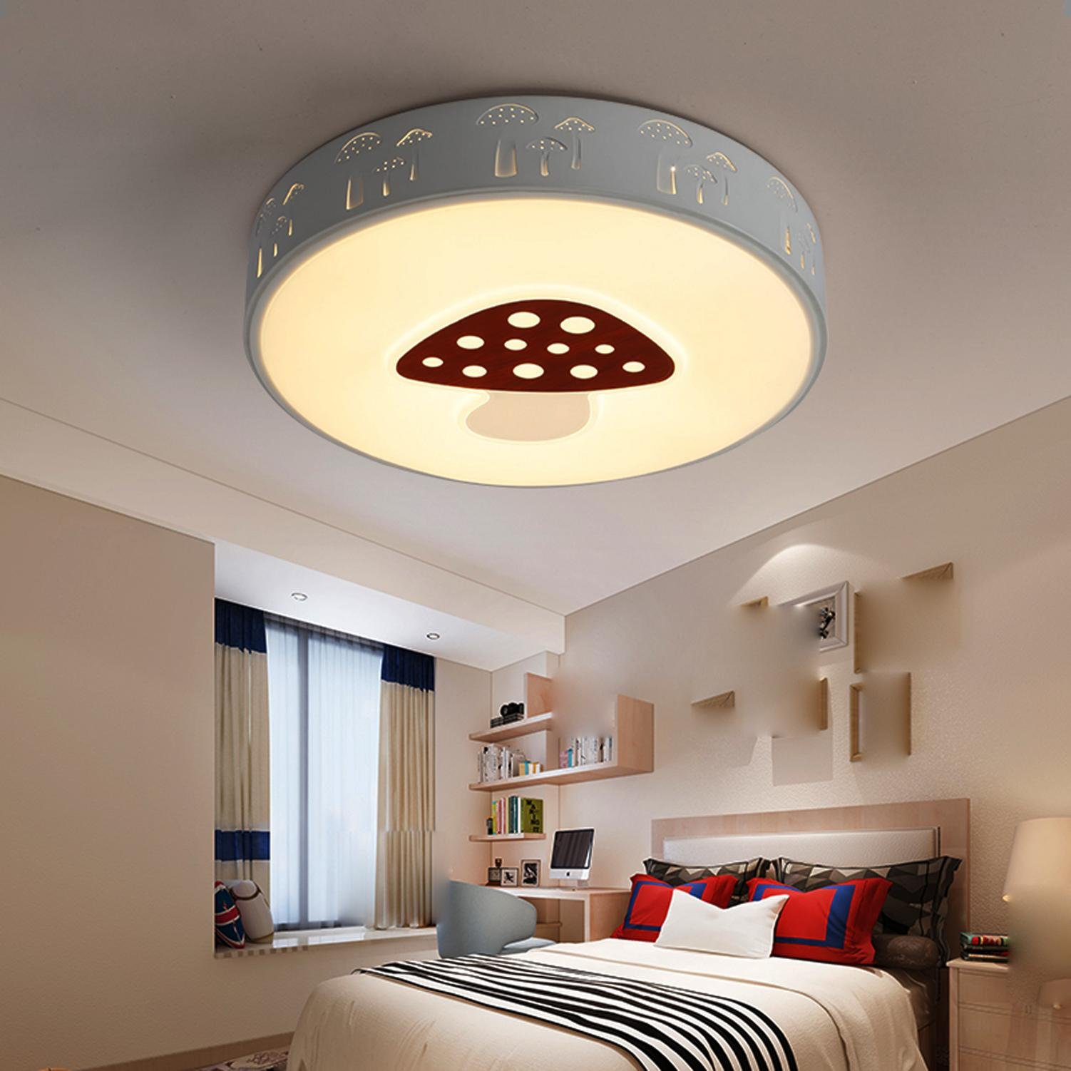 Maniny Children Room Ceiling Lamp Boy LED Creative Round Creative Ceiling Light Bedroom Chandelier Girl Mushroom Room Cartoon Ceiling