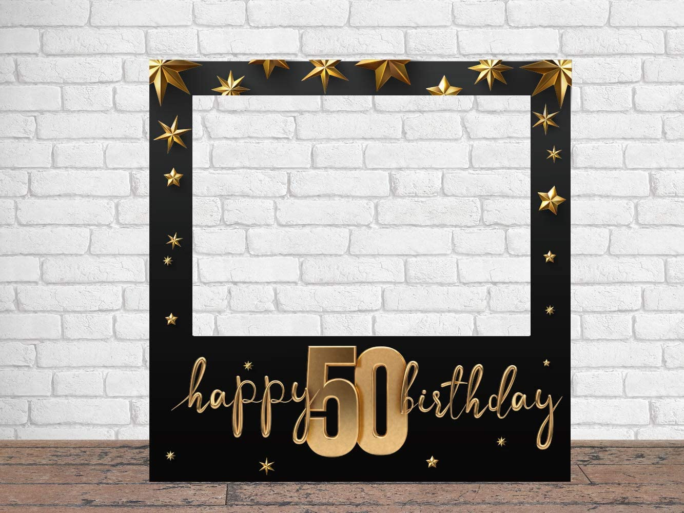 Photocall Feliz 50 Cumpleaños Estrellas 100 x100 cm | Regalos para Cumpleaños | Photocall Económico y Original | Ideas para Regalos | Regalos Personalizados de Cumpleaños