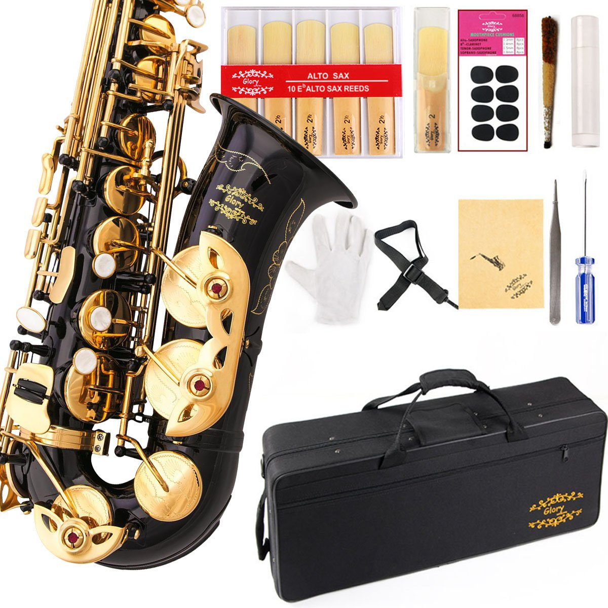 Glory High Grade Engraved Flowers Black /Gold Keys E Flat Alto Saxophone with 11reeds,8 Pads cushions,case,carekit-More Colors with Silver or Gold keys