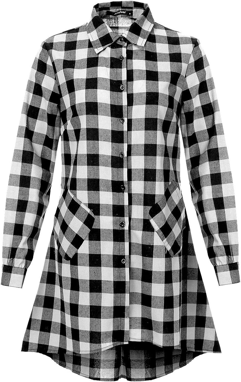 Mixfeer Women's Casual Oversize Plaid Tunic Dress Loose Asymmetrical Hem Long Sleeve Cotton Plaid Tunic T Shirt Dress