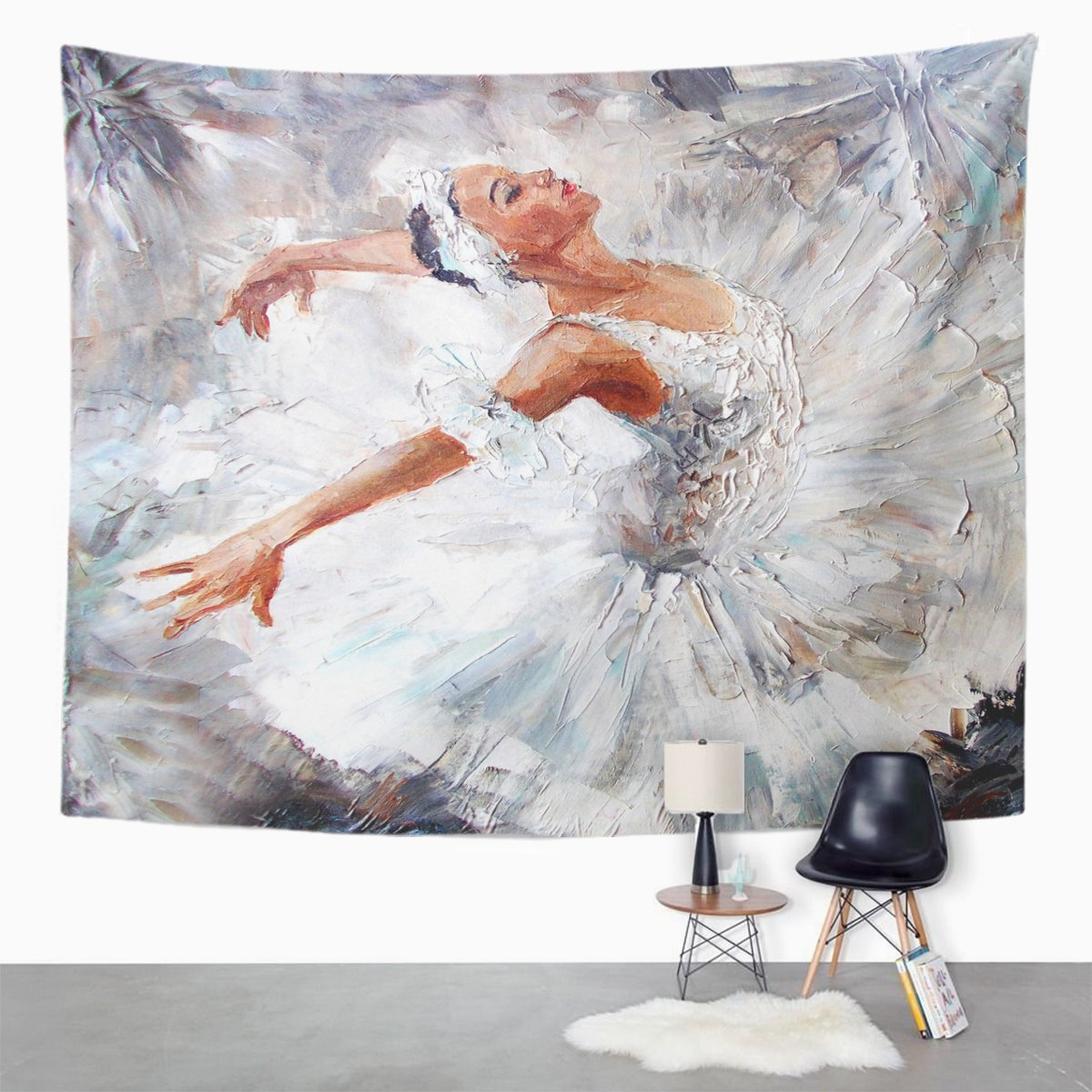 TOMPOP Tapestry Gray Ballet Oil Painting Girl Ballerina Drawn Cute Dancing Home Decor Wall Hanging for Living Room Bedroom Dorm 50x60 Inches by TOMPOP (Image #2)