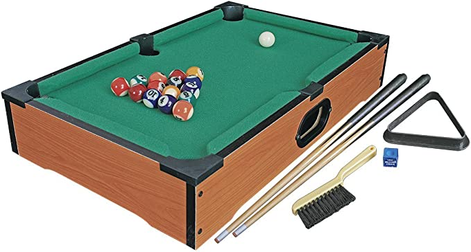 Invero® Deluxe Mini Wooden Table Top Pool Table Billiards Snooker Family Fun Game - Complete with 15 Balls, Cue Ball, 2x Cues, Chalk, Cloth Brush and Triangle - 50 x 30 cm: