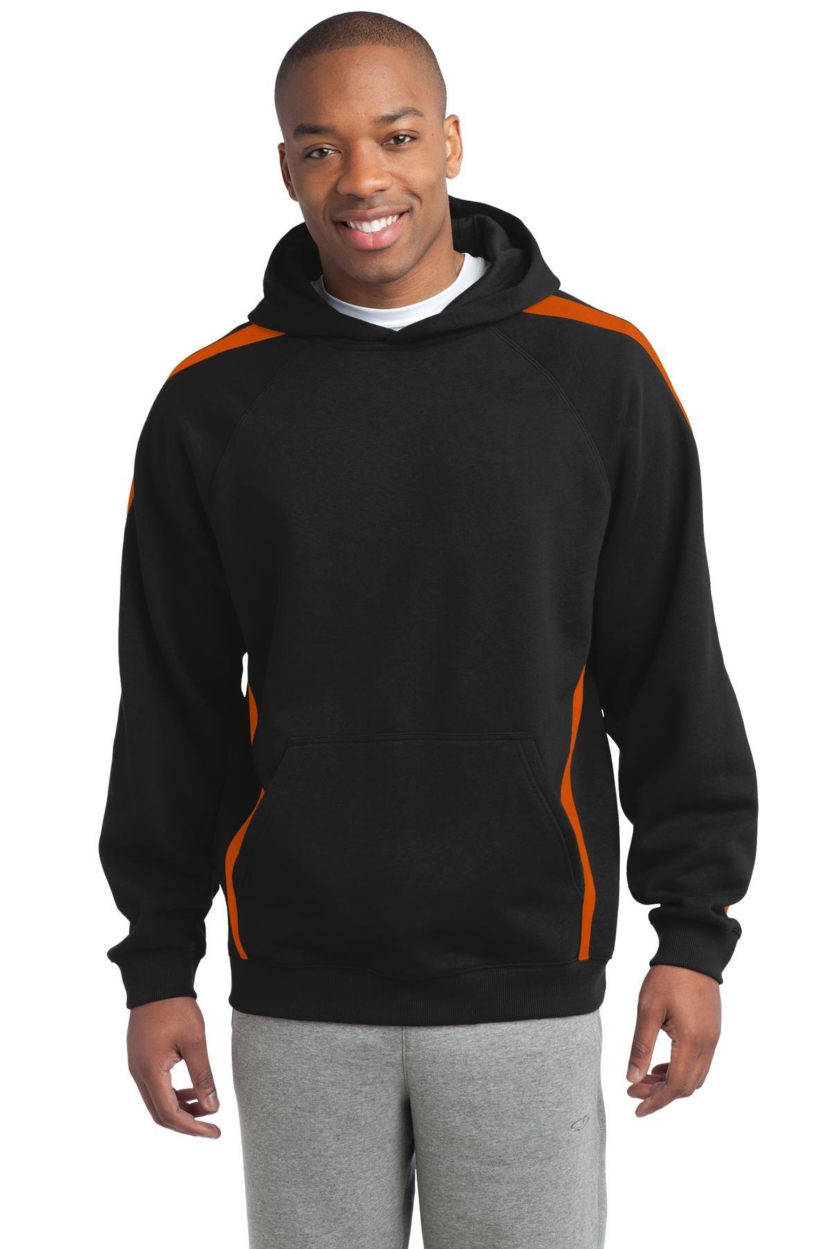 Sport-Tek Men's Sleeve Stripe Pullover Hooded Sweatshirt XL Black/Deep Orange by Sport-Tek