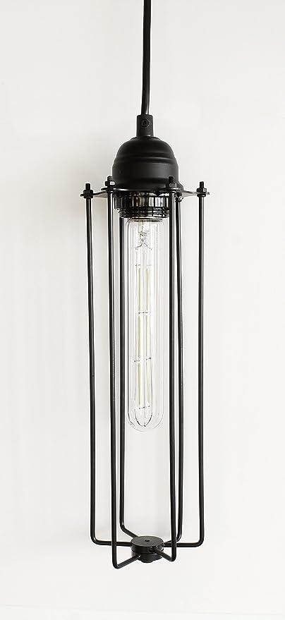 Yuurta industrial vintage style hanging pendant light fixture metal wire cage lamp guard tubular shape
