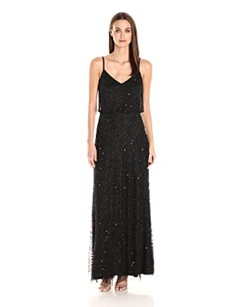 971563fffde Amazon.com  Adrianna Papell Women s Long Beaded Blouson Gown  Clothing