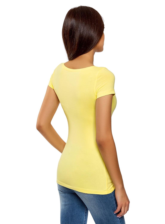 oodji Ultra Donna T-Shirt Basic Aderente