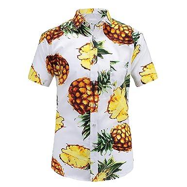 90c015b78 Fashion Regular Fit Men Cotton Short Sleeve Shirt Summer Casual Floral Shirts  Men Plus Size at Amazon Men's Clothing store: