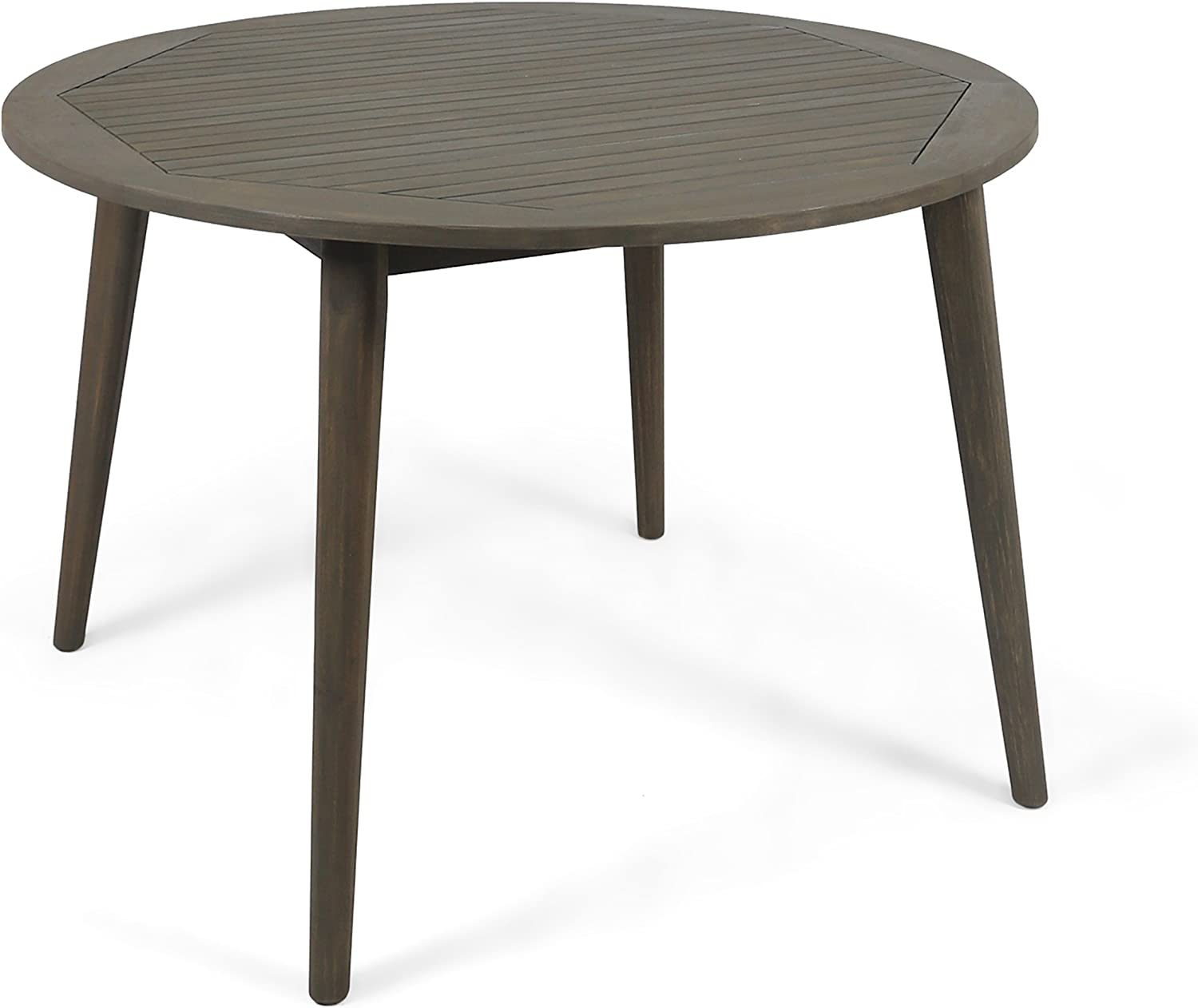 Christopher Knight Home 305154 Nick Outdoor Acacia Wood Round Dining Table, Gray Finish : Garden & Outdoor