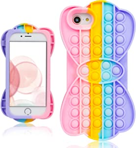 oqpa for iPhone 7/8/SE 2020/6/6S Case Cartoon Kawaii Funny Cute Fun Silicone Design Cover for Girls Kids Boys Teen, Fashion Cool Unique Fidget Bow Bubble Cases (for iPhone 7/8/SE 2020/6/6S 4.7