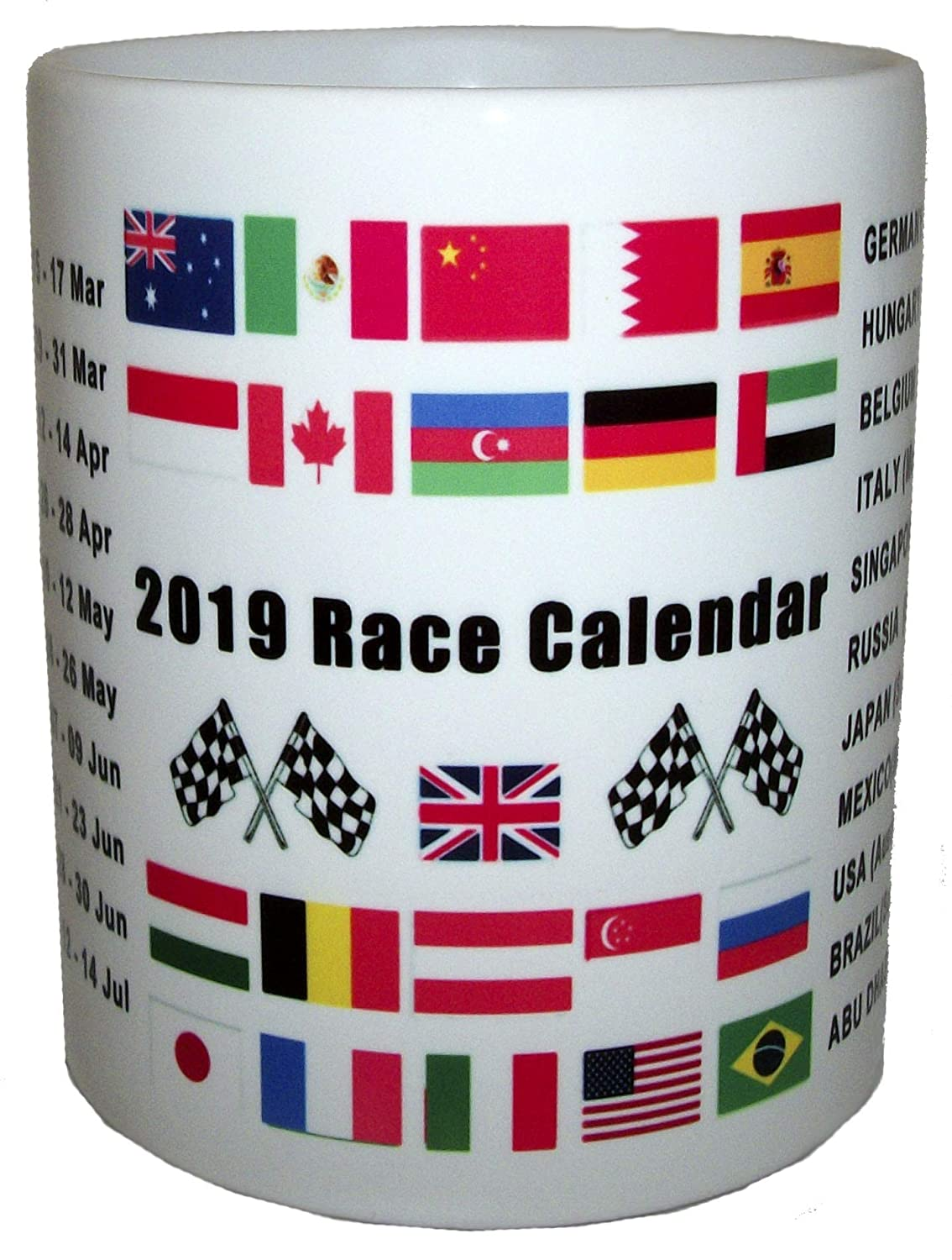 2019 Motor Car Racing Fixtures Race Calendar Ceramic Mug