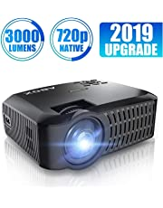 Projector, ABOX A2 720P Portable Projector, 3000 Lumens 1080P Supported LCD Video Projector, Multimedia Home Theater Projector Support HDMI USB SD Card VGA AV for Home Entertainment, Party and Games