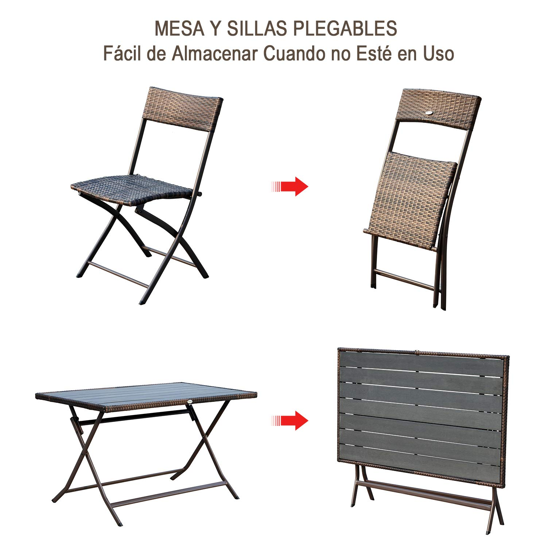 Outsunny Conjunto de Mesa Sillas Muebles Plegable Ratán para Jardín Exterior Patio Terraza 7 Pcs Acero - Color Marrón - 61x46x84cm: Amazon.es: Jardín