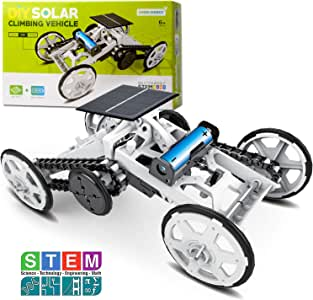 Sillbird STEM 4WD Car DIY Climbing Vehicle Kit Electric Mechanical / Solar Power Science Building Toys, Circuits Engineering Gift Toys Car for Kids and Teens.