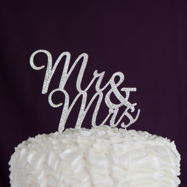 Amazon Com Ella Celebration Mr Mrs Wedding Cake Topper Silver