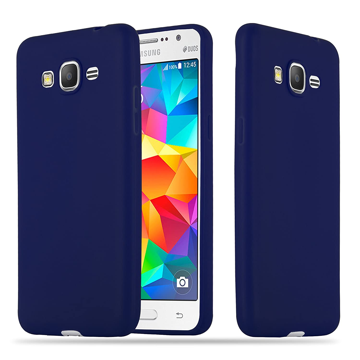 Cadorabo Case Works with Samsung Galaxy Grand Prime in Candy Dark Blue – Shockproof and Scratch Resistant TPU Silicone Cover – Ultra Slim Protective ...