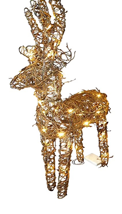 Light Up LED 2ft Pre Lit Glitter Silver Gold Christmas Reindeer Figure Ornament