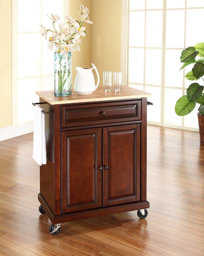 amazoncom crosley furniture cuisine kitchen island with natural wood top classic cherry bar u0026 serving carts
