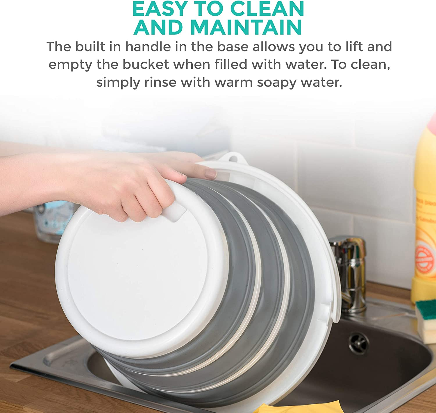 LIVIVO Collapsible Bucket Neat and Tidy Space Saving Solution for your Garage Shed Home Bedroom Large 10L Capacity Sturdy Folding Silicon Water Bucket with Comfortable Grip Handle