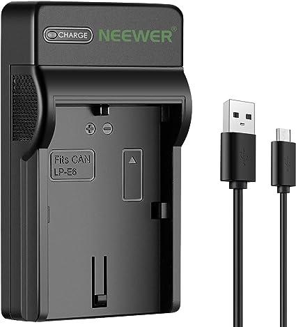 Neewer Fino Rápido Micro USB Cargador de Batería para Canon LP-E6 ...