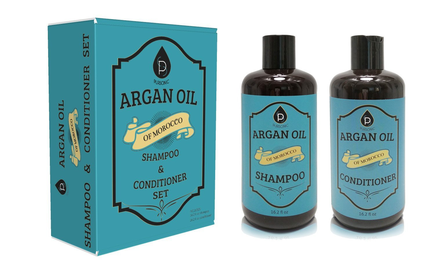 Pursonic organic moroccan argan oil repair shampoo & conditioner set (2x16 oz)