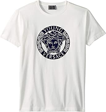 0495685c Versace Kids Boy's Short Sleeve Medusa Logo T-Shirt (Big Kids) White 11