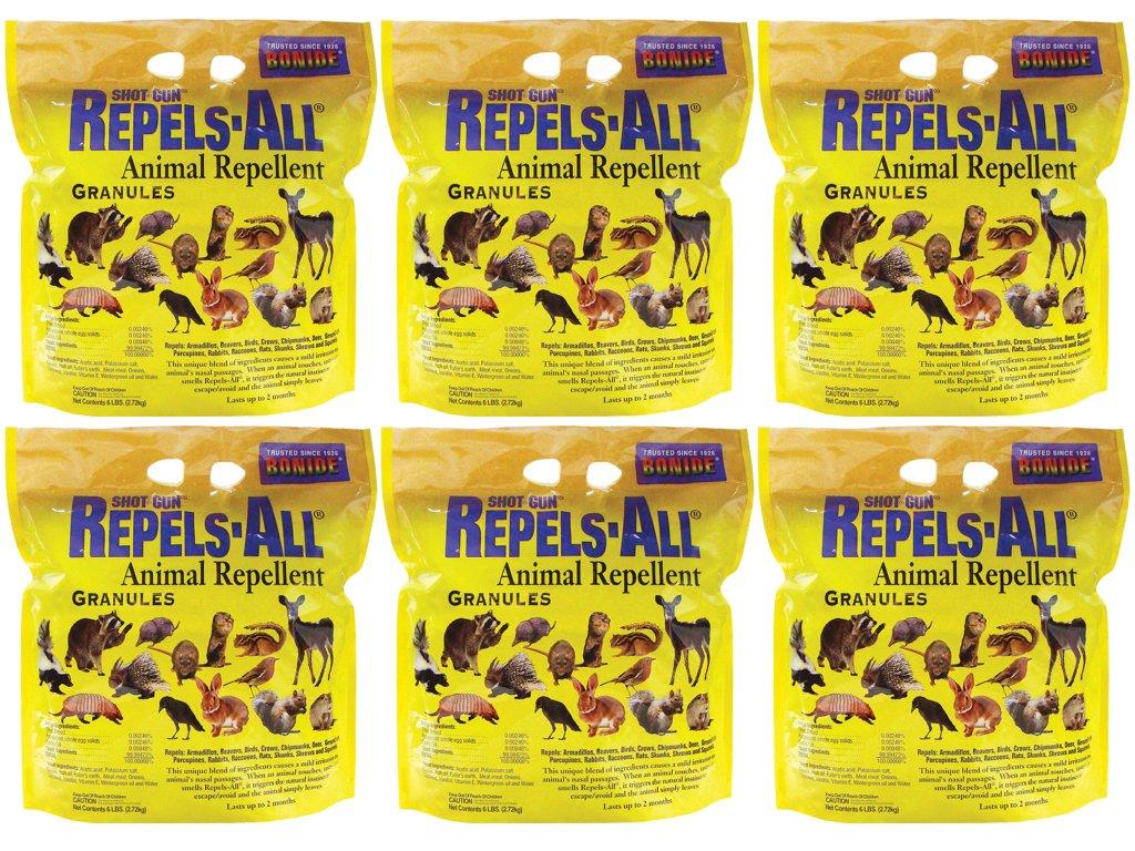 Bonide Products Shot-Gun Repels-All Animal Repellent Granules / Natural Pesticide / Gardens / Repels birds, dogs, cats, chipmunks, squirrels, deer, raccoons, rabbits, skunks and more! (6, 6-Pack)
