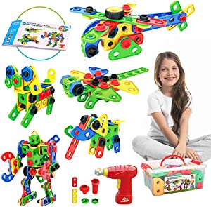 Lekebaby STEM Toy, 105 Piece Building Toy, Kids Educational Engineering Construction Set with Storage Box and Toy Drill, Stem Activities for Ages 3 4 5 6 7 8 Boys Girls