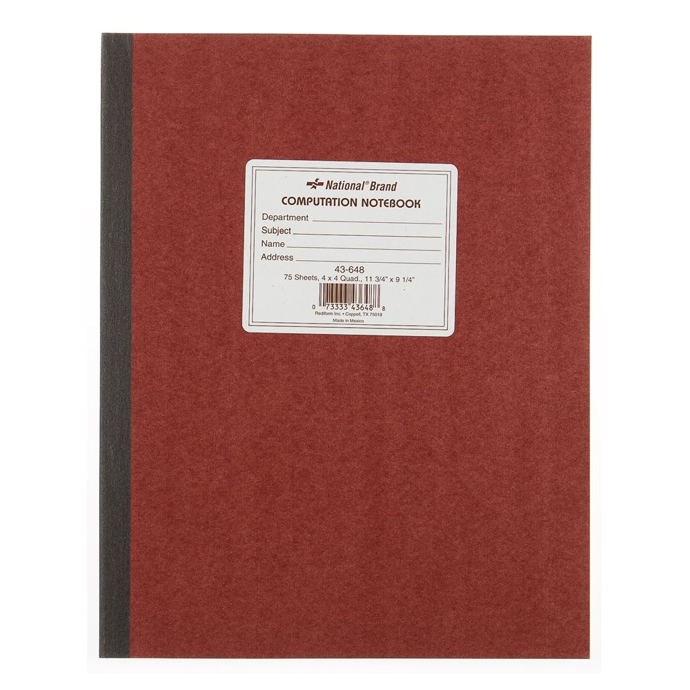 National Brand Computation Notebook 4 X 4 Quad Brown Green Paper 11.75 X 9.25.. 4