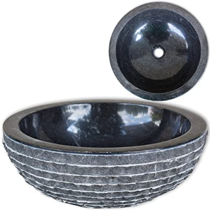 Festnight Bathroom Sink Marble Vessel Sink With Water Repellant Finish 15.7  Inch Above Counter Bathroom