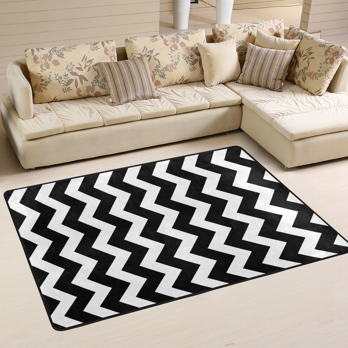 ALAZA Non Slip Area Rug Home Decor, Stylish Black White Zig Zag Durable Floor Mat Living Room Bedroom Carpets Doormats 36 x 24 inches