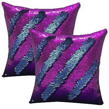 ... Colores Fundas de cojin,Fundas de Almohadas para el sofá de casa del hogar Decorativos 40x40cm,Juego de 2 (Lentejuelas Azules moradas): Amazon.es: Hogar