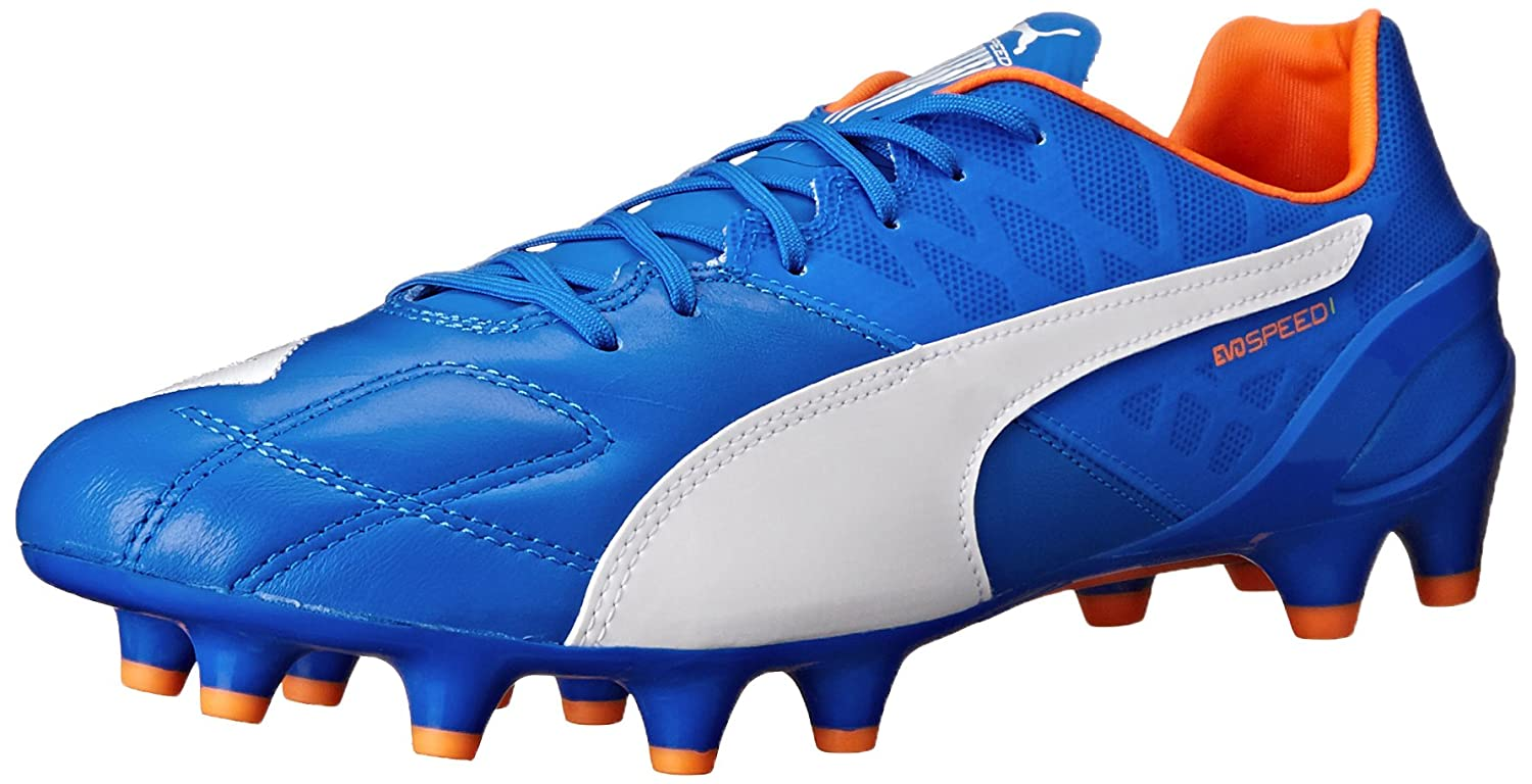 プーマメンズEvospeed 1.4lthfgサッカーシューズ B00QJ05BFEElectric Blue Lemonade/White/Orange Clownfish 8