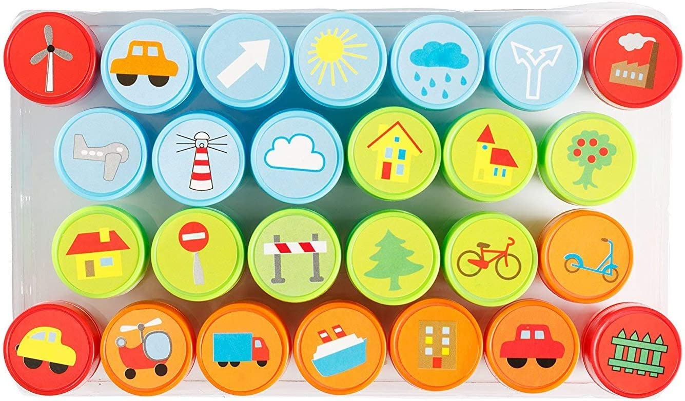 DIY Craft for Children Moore Art 26 Piece Self Inking Nature Design Plastic Stampers with Multi Color Bright Nature Ink Stamps Party Gifts.