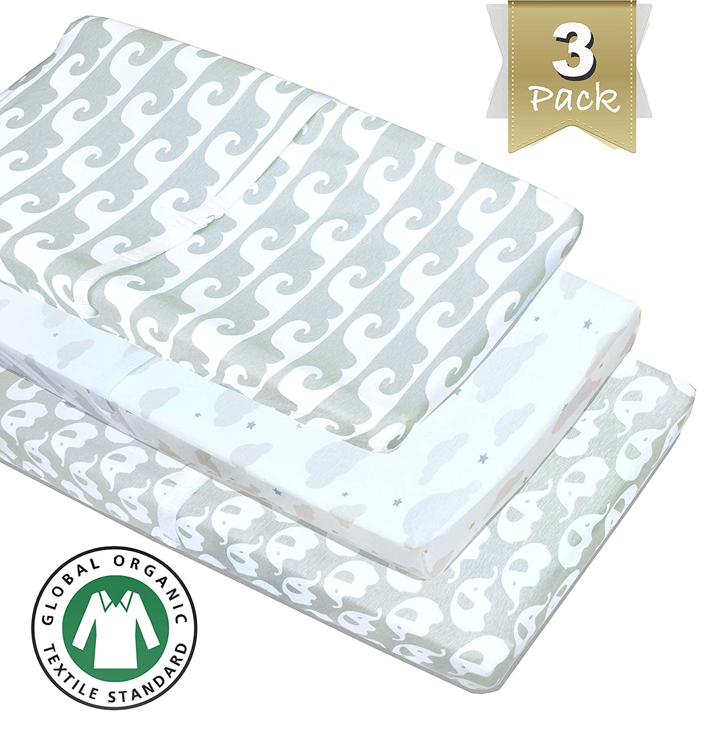 3 Pack 100% Organic Cotton Changing Pad Covers or Cradle Sheets, in Neutral Colors Unisex for Boy or Girl
