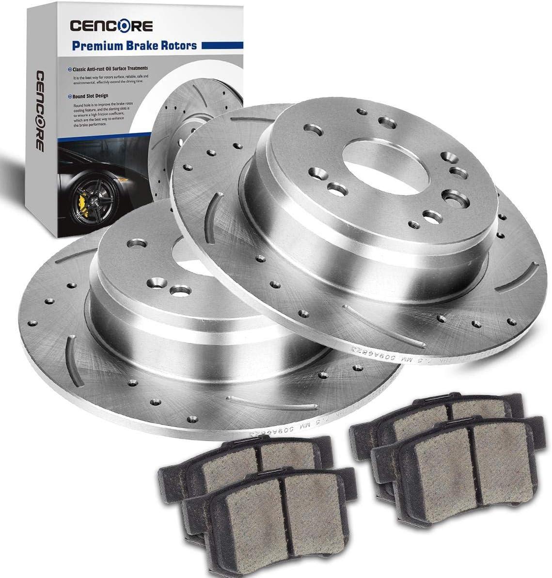 For 2003-2011 Acura,Honda TL,Element Rear Calipers+Drill Slot Brake Rotors+Pads