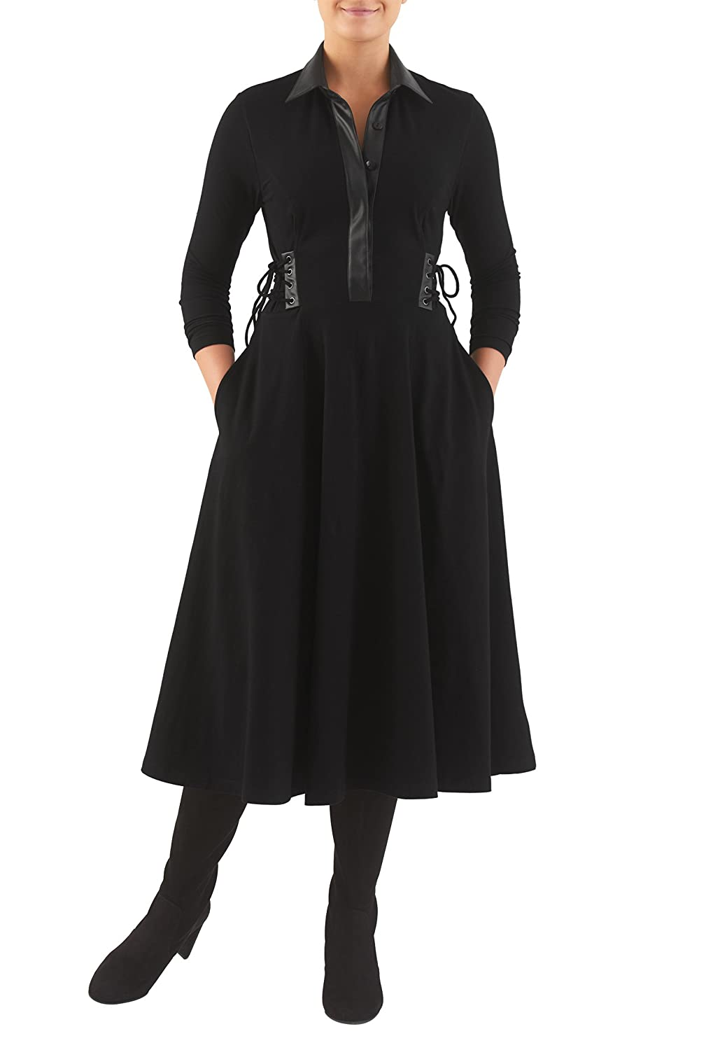 Steampunk Dresses and Costumes eShakti Womens Faux leather lace-up cotton knit shirtdress $59.95 AT vintagedancer.com