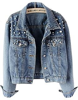 Cystyle Damen Jeansjacke Übergangsjacke Leichte Jacke Denim Casual mit Perle e222167ca0