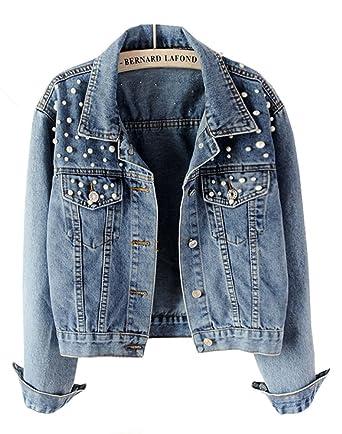 Cystyle Damen Jeansjacke Übergangsjacke Leichte Jacke Denim Casual mit  Perle (XS Tag M) 80af065ce8