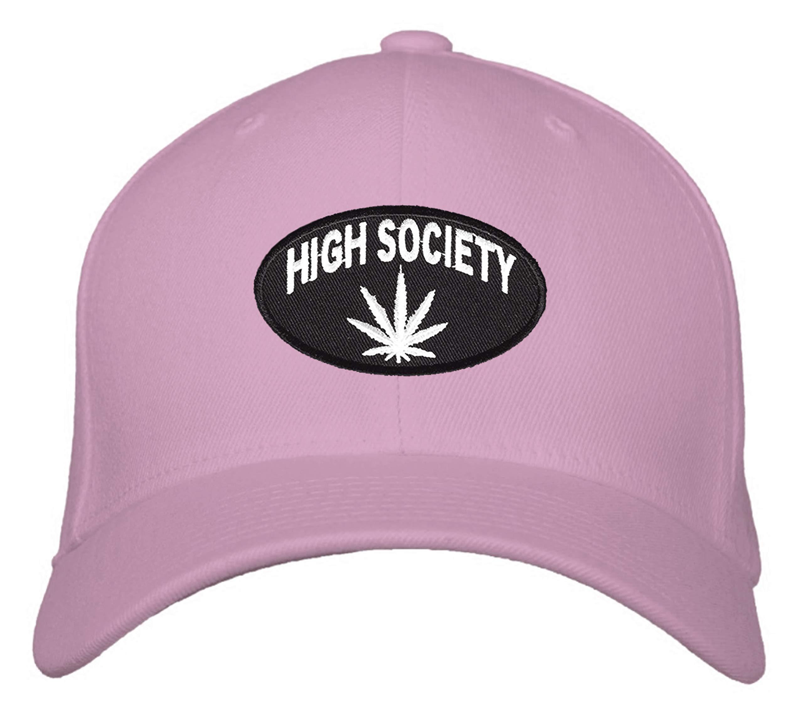 High Society Hat – Adjustable Women's Cap (Pink) Marijuana Cannabis Pot Leaf