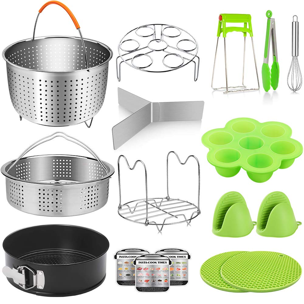 RGCTL 17 Pieces Pressure Cooker Accessories Set Compatible with Instant Pot 6 Qt 8 Quart - Steamer Basket, Springform Pan, Egg Rack, Egg Bites Mold, Cheat Sheet Magnets, Bowl Clip, Silicon Mitts