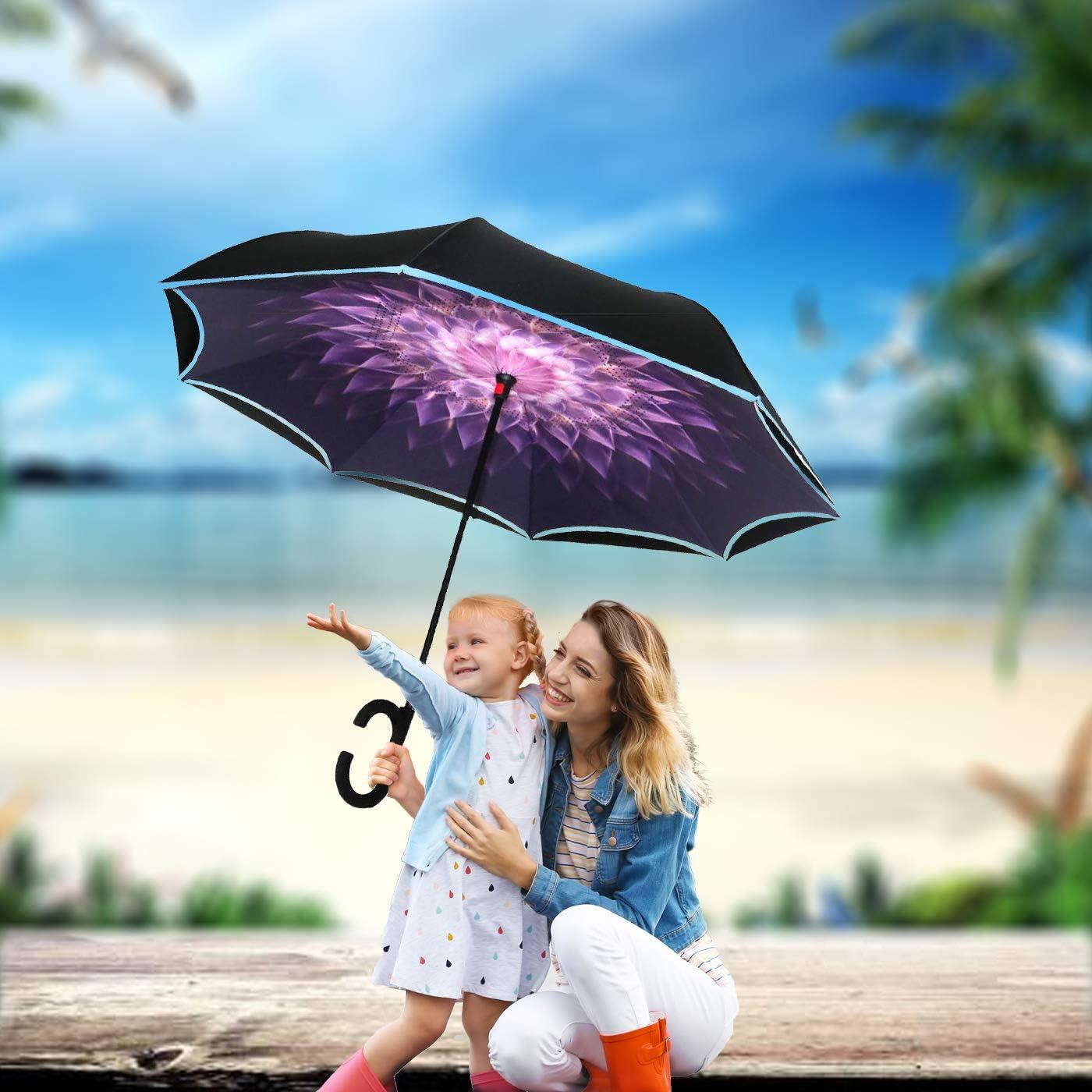 Reflective Reverse Umbrella,Inverted C-Handle Umbrella,Windproof Folding Upside Down Safety,Women with UV Protection Umbrella Blue flower