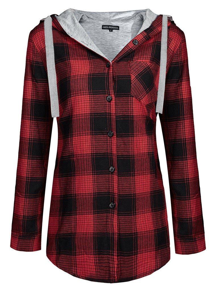 OMEYA.WANSHIDA.Womens Long Sleeve Button up Plaid Flannel Hooded Jacket Shirt(L, Red)