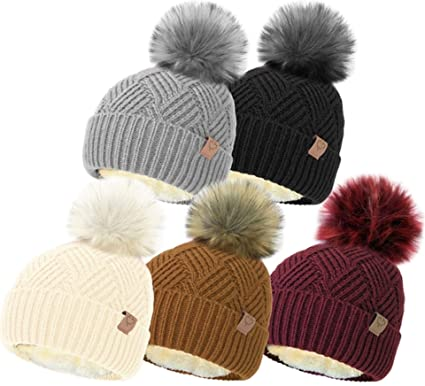 Sterling Smart® Ladies Womens Winter Knitted Beanie SKI HAT Detachable Faux  Fur Bobble POM POM 39a0a37cecb